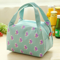 Aqua Cartoon Animal Print Trapezoid Canvas Lunch Bag