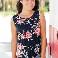 Navy Floral Sleeveless Top with Knot