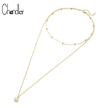 Chandler 2 Layer Cat Dog Paw Footprint Necklace For Women Simple Lovely Crystal Choker Necklaces Friendship Girl Bijoux Gift