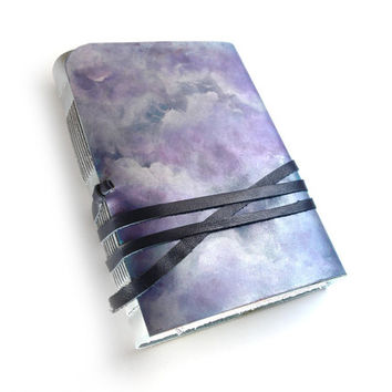 Blue Sky Leather Journal / Diary / Notebook - Hand Painted Clouds in Lilac, Blue and Silver Rain, Leather Cover, White Paper - White Clouds