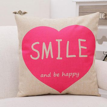 Smile and Be Happy PInk Romantic Love Warm Home Pillow Massager Decorative Pillows Euro Cover Home Decor Funs Gift