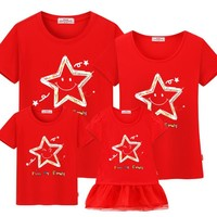 Short-sleeved t-shirt mother and daughter family matching outfits mommy me son look