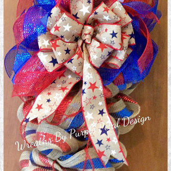 Patriotic Wreath, 4th of July Wreath, Memorial Day Wreath, Patriotic Decoration, July 4th Wreath, American Flag Wreath, Support Our Troops