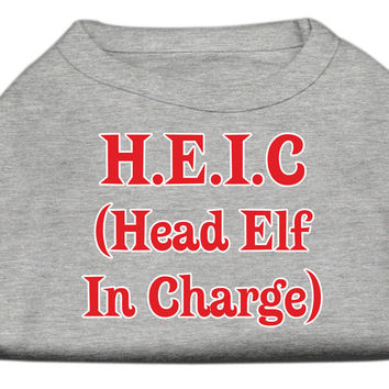 Miragepet Products Puppy Dog Cat Apparel Head Elf In Charge Screen Print Shirt Grey XS (8)