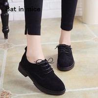 2018 autumn Shoes Women Casual lace-up Black Oxford Shoes Women Flats Comfortable Slip on Women Shoes Mujer Plus size 35-40 A015
