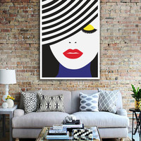 "Pop Art Poster ""Face Illustration"", Wall Art, Home Decor, Beauty Print, Glamour Decor, Fashion Illustration, Colorful Poster."
