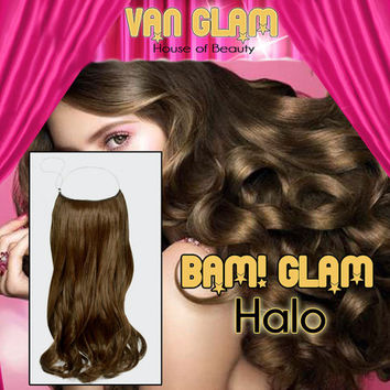 "Wavy/ Chocolate Brown / 22"" / Halo Hair Extensions / 100% Cuticle Remy"