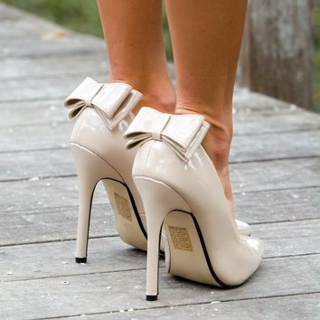 Nude Patent Bow Back Pumps Shop Simply Me Boutique Shop SMB – Simply Me Boutique
