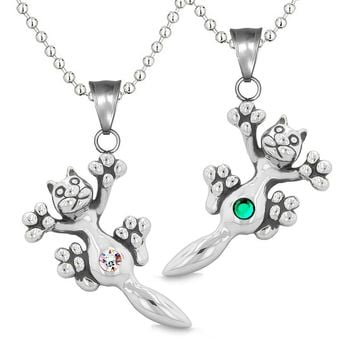 Amulets Cute Kitty Cat Love Couples or Best Friends Set Green Rainbow Sparkling Crystals Necklaces