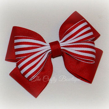 Red & White Bow ~ Layered Boutique Bow ~ Red Striped Bow ~ Large Boutique Bow ~ Red Patriotic Bow ~ Baby Toddler Bow ~ Red Headband Bow