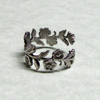 Silver Leaf Spray Ring Band by ranaway on Etsy