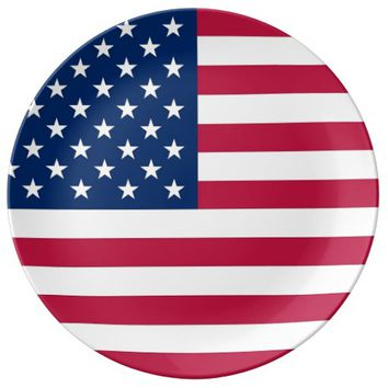 Patriotic porcelain plate with Flag of USA