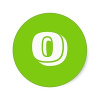 Number Zero Small Round Green Stickers by Janz