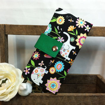 Women's handmade folded wallet with Elephant and flower print on black background has card slots coin pouch bill slots snap closure