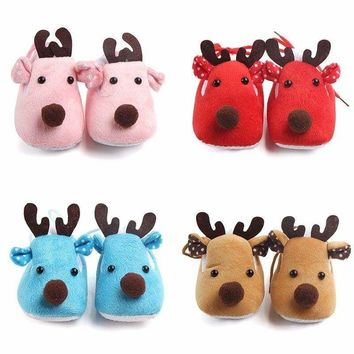 Lovely Infant Baby Girl Boys Fleece Shoes Booties Winter Warm Shoes Anti Lost US