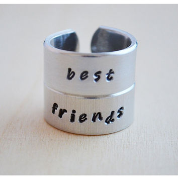 Aluminum Ring Set  Hand Stamped Personalized by hersilverlining