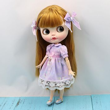 Fortune Days ICY Doll 1/6 Clothes Purple Dream Unicorn Cute Dress with Bow for Neo blyth icy doll 30cm toys