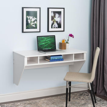 Designer Floating Desk in White