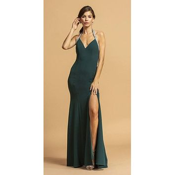 Halter V-Neck Hunter Green Long Prom Dress with Slit