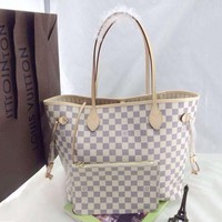 LV hot woman leather two piece handbag and same style wallet a set White Tartan G-MYJSY-BB