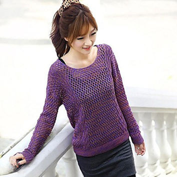 Women's Green Purple  Casual Pullover