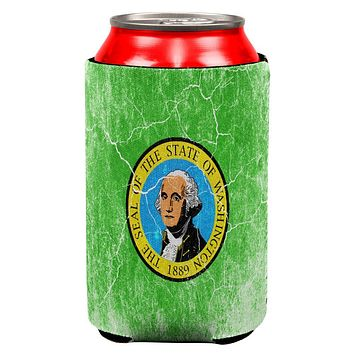 Washington Vintage Distressed State Flag All Over Can Cooler