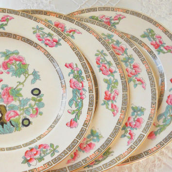 Morley and Fox Indian Tree Dinner Plates, Set of 4, Vintage, Tea Parties, Wedding, English Bone China, Replacement China