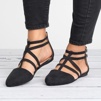 Strappy Faux Suede Flats - Black