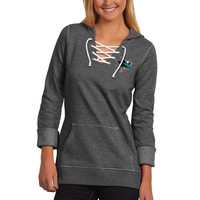 San Jose Sharks Antigua Women's Hustle Lace-Up Hoodie – Black