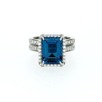 Emerald cut London blue topaz halo engagement ring set, white gold, diamond engagement, teal topaz, unique, wedding ring set, topaz halo