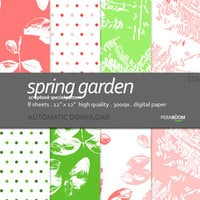 Digital paper pack of 8 sheets Spring garden 116