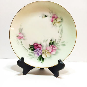 Hand Painted Plate, Bavaria, 8 1/2 Inches, Pink, Yellow, Purple, Signed, Antique