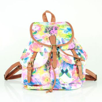 Butterfly Printed Cute Large Backpacks for School Bag Canvas Daypack Travel Bag
