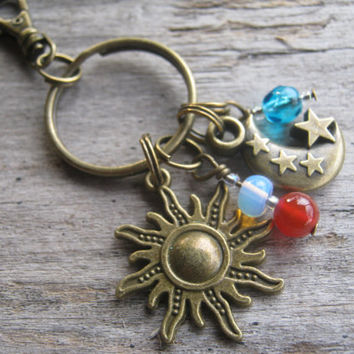 Sun & Moon Keychain, SILVER or BRONZE, Personalized Moon and Stars Zipper Pull, Carnelian Opalite Keychain, Birthstone Accessory, Astronomy