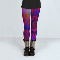 Pink Psychedelic Fractal Pattern by Hippy Gift Shop (Leggings)