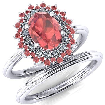 Eridanus Oval Lab-Created Padparadscha Sapphire Cluster Diamond and Padparadscha Sapphire Halo Wedding Ring ver.2