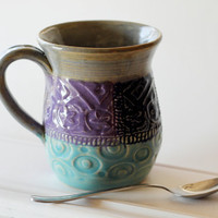 Patchwork Quilt Mug // One Large Slab Built by MissPottery on Etsy