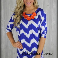 Royal Blue and white chevron dolman top - Filly Flair