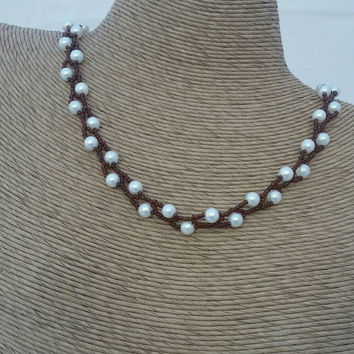 Pearl twig necklace - pearl necklace - twig necklace - woven necklace - white and brown necklace - button clasp