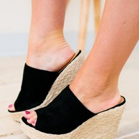 Step On Out Espadrille Black Wedges