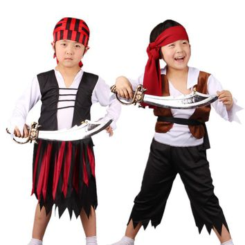 Cool Kids Carnival Party Halloween Costume Children Boy Girl Pirates Cosplay Costumes Hallowmas Party Fancy Dress SuppliesAT_93_12