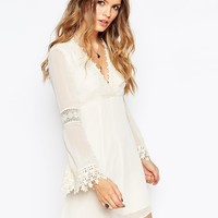 ASOS Skater Dress with Lace Inserts and Fluted Sleeve