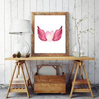 "Pink girls bedroom decor, Nursery art ""Watercolor Heart"" print Gift for Her Pink Nursery wall decor Printable wall art Pink girls decor"