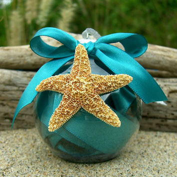 Christmas Starfish Ornament-TEAL-Starfish Ornament, Hostess Gift, Beach Home Decor, Coastal Christmas, Ornament, Teal Blue, Mermaid Ornament