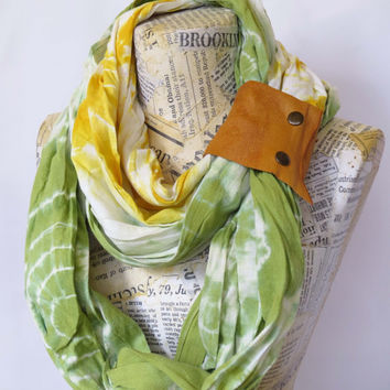Cotton Infinity Scarf with Leather Cuff, White Yellow and Green Hand Painted Scarf, Shibori Long Scarf, Hand Dyed Woman's Scarf