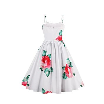 Tea-length White Flower Vintage Dating A-line Dress
