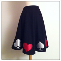 Black Rockabilly Skirt, Appliqued Pin Up QUEEN of HEARTS Full Circle Skirt, Vintage Style, Alice in Wonderland POKER Night, Made to Order