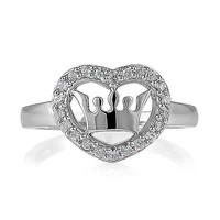 Sterling Silver Cubic Zirconia Crown and Heart Fashion Right Hand Ring #r263