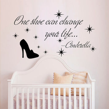 Wall Decals Quote Cinderella One Shoe Can Change Your Life Vinyl Decal Sticker Bedroom Interior Design Mural Baby Girl Nursery Decor MR358