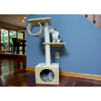 Iconic Pet - Three Level Cat Tree Condo with Hammock - Beige
